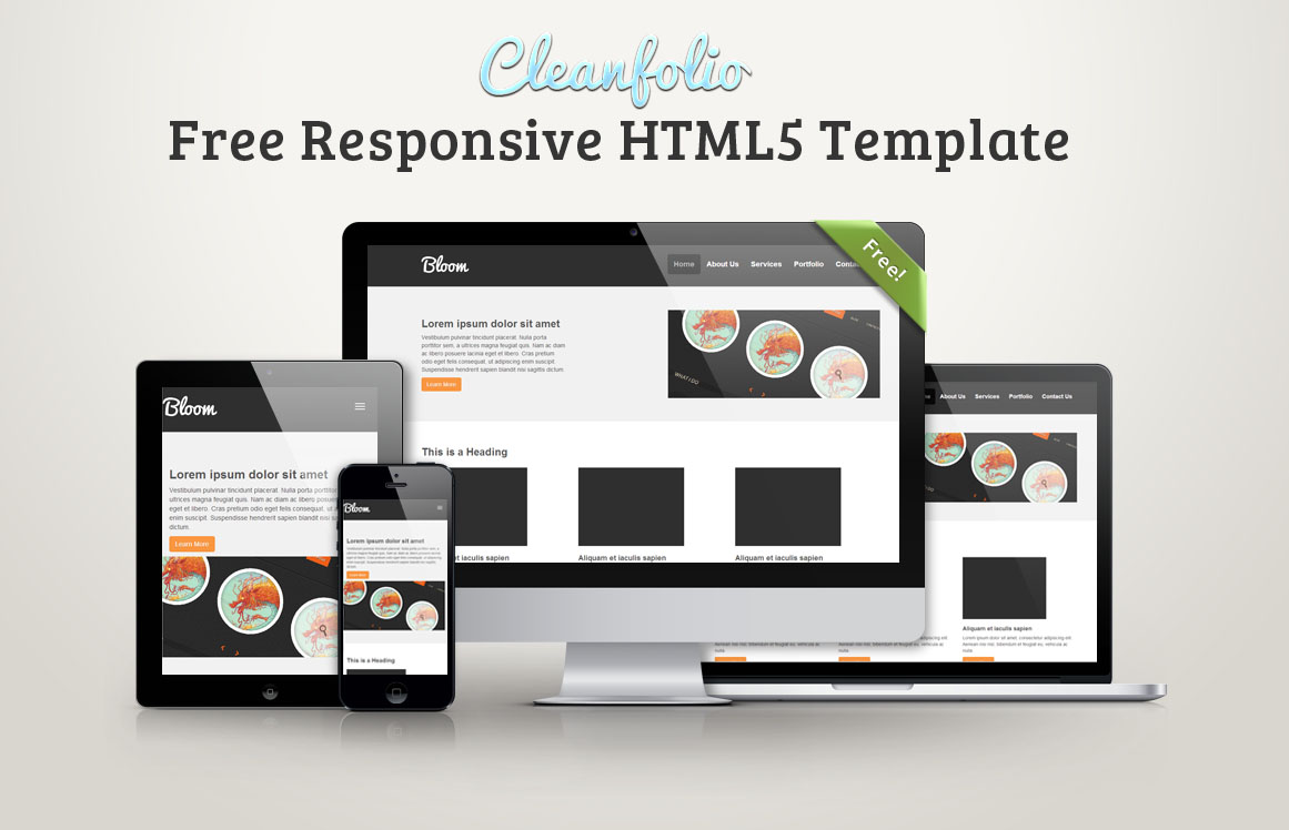 Cleanfolio free responsive html5 template idevie for Free responsive website templates