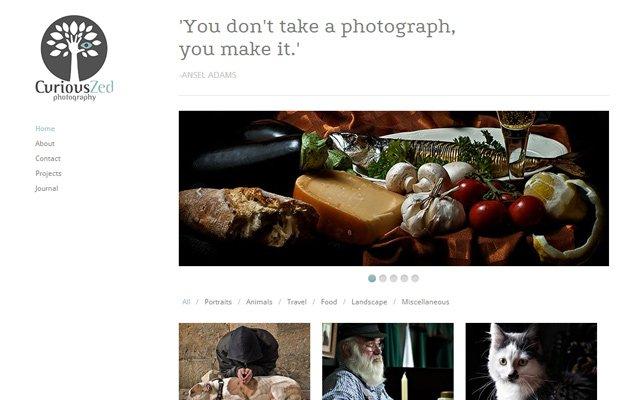 curiouszed photography website layout portfolio