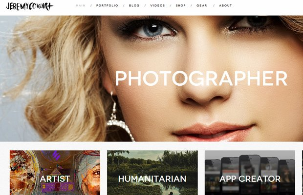 jeremy cowart website layout screenshot