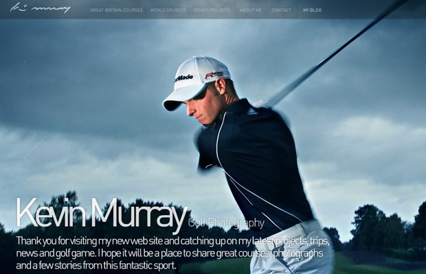 kevin murray golf photography website layout
