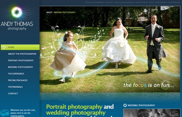 wedding photography andy thomas website layout