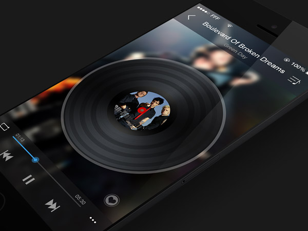 Music App for iOS7 by Jerry Chen