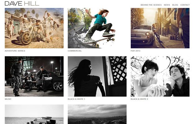 dave hill photography website portfoliol layout