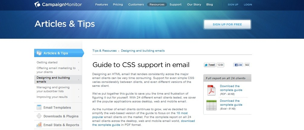 Guide to CSS support in email