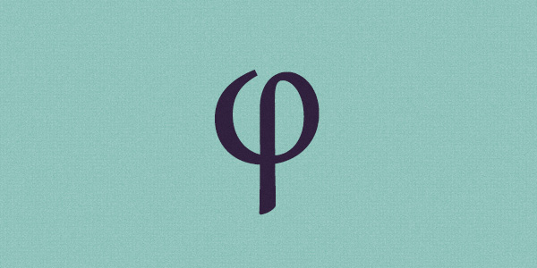 The Greek letter phi, which symbolizes the golden ratio