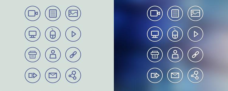 Circular Icon Set 12 Icons, PSD