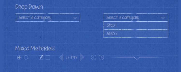 Blueprint Wireframe Kit PSD