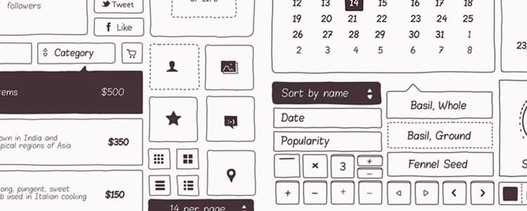 Basiliq Freehand UI Kit PSD