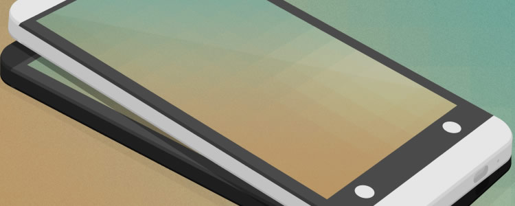 Flat HTC One 3D Mockup PSD