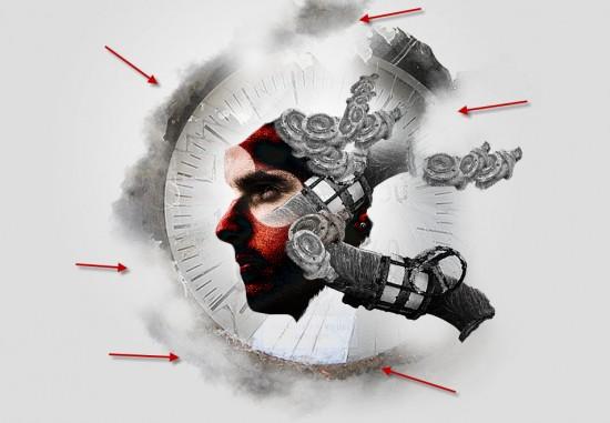 4 erase1 550x381 The Creation of Mechanical Man Photo Manipulation in Photoshop