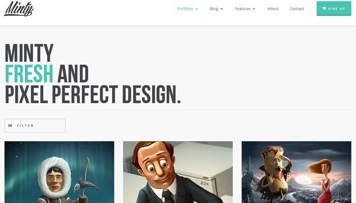 Minty Responsive Portfolio WordPress Theme