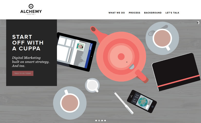 illustration flat screenshot web design Alchemy