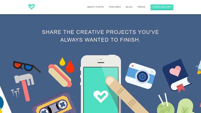 illustration flat screenshot web design Fostr