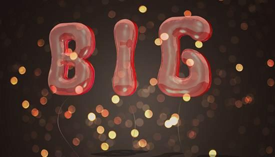 3d balloons text effect