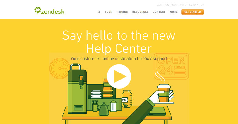 illustration flat screenshot web design Zendesk