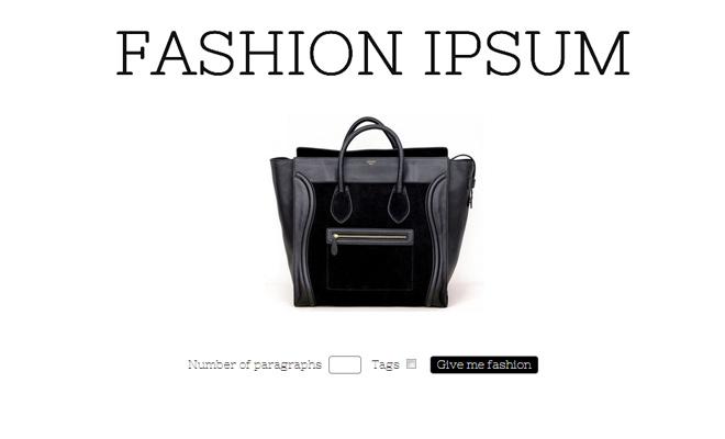 fashion ipsum lorem generator webapp