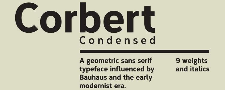 Corbert Condensed Regular & Italic +Web Font free typeface