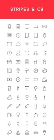 Freebie: Stripes & Co – A Line-Styled Icon Set (65 Icons)
