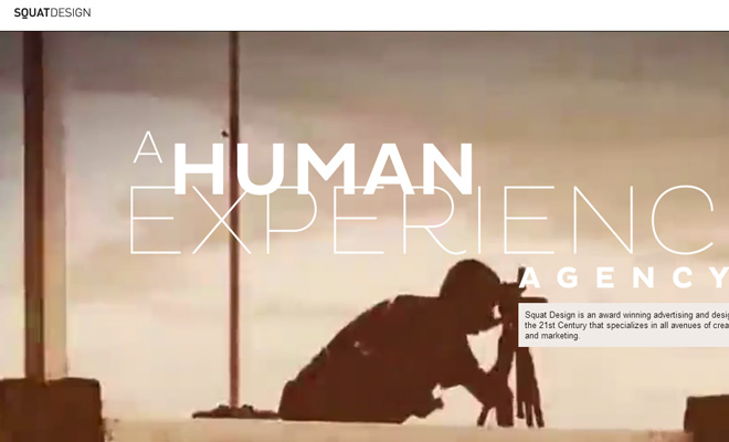 squat design homepage studio video background