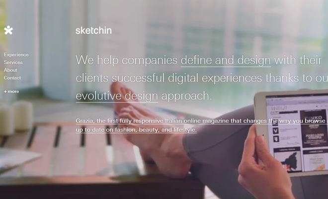 sketchin homepage fullscreen background video design