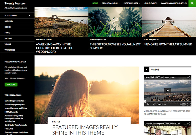 Twenty Fourteen free wordpress theme