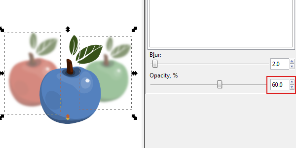 inkscape blur and opacity