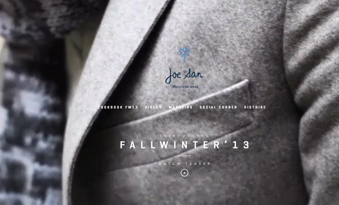 joe san clothing background video website design