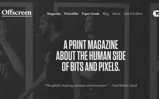 dark grey offscreen magazine website layout
