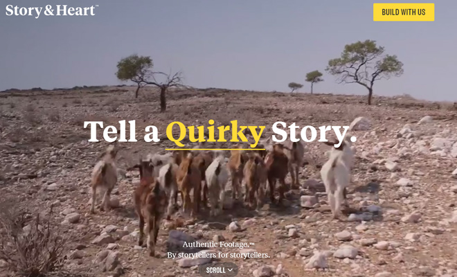 story and heart website fullscreen video design
