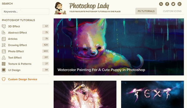 Photoshop lady artistic website design