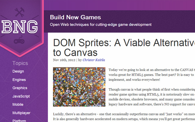 dom html5 sprites game development tutorial