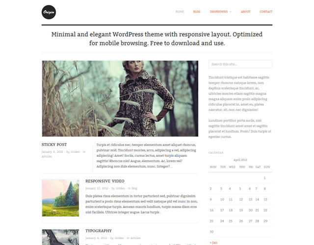 Origin (Responsive) Minimalist WordPress Theme