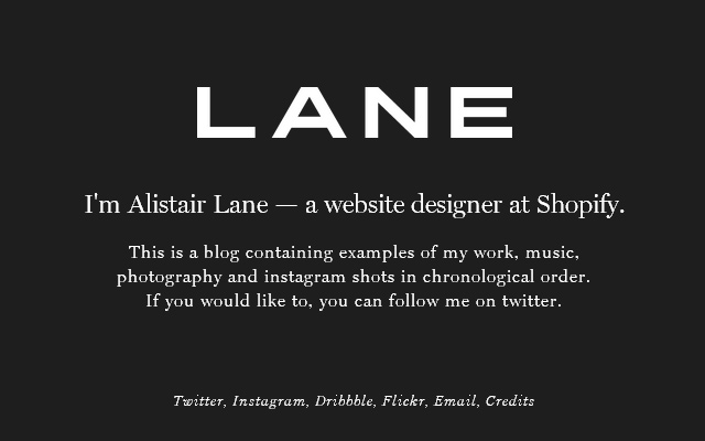 alistair lane web designer shopify portfolio dark grey