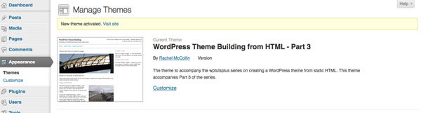 creating-wordpress-theme-from-static-html-theme-activated