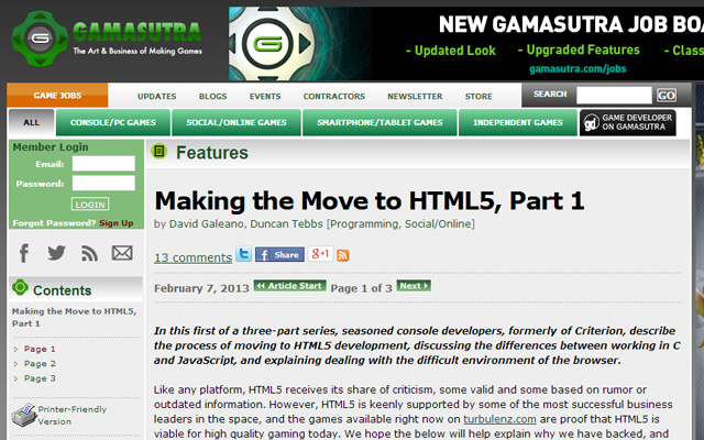 video game development moving to html5 browsers