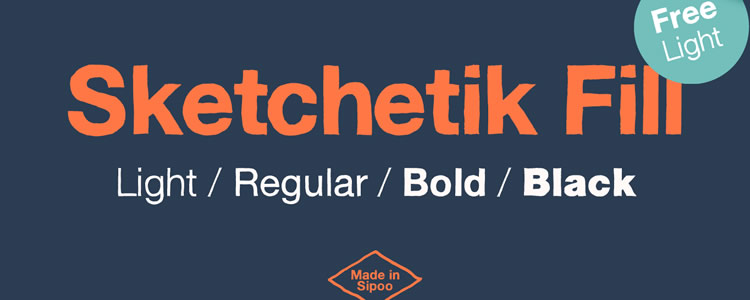 Sketchetik Fill Lightfont designed by Ossi Gustafsson free typeface