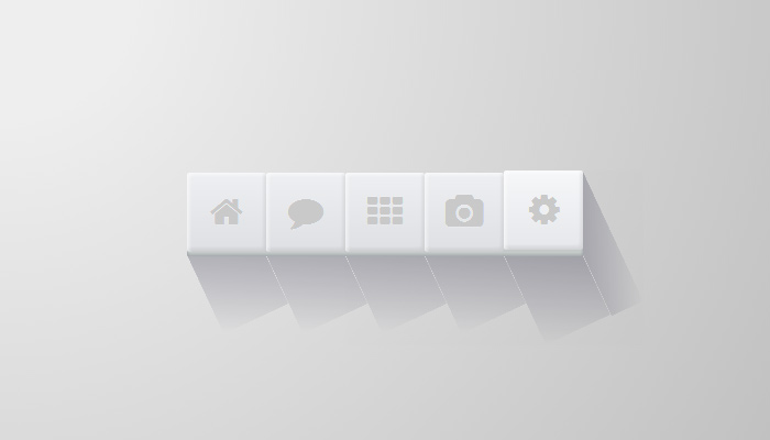 small simple white css3 box shadows icons nav