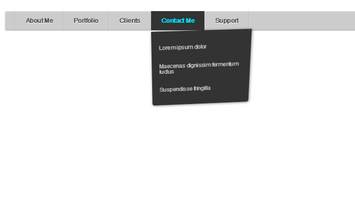 css3 swinging panel menu on hover design