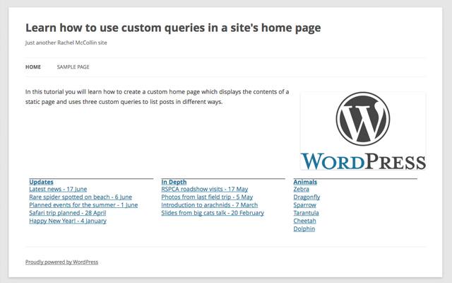 custom homepage wp queries tutorial