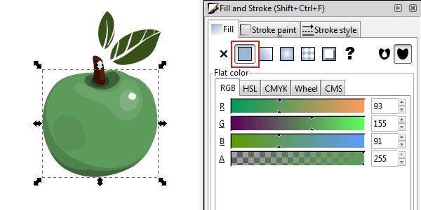 inkscape flat color fill