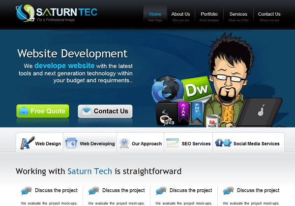 Saturn tec artistic website design
