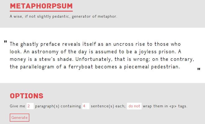metaphorpsum metaphors filler text ipsum