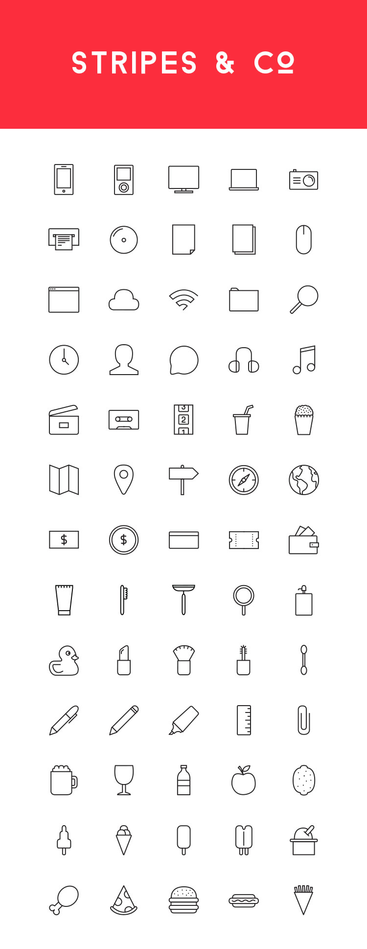 Stripes & Co line icon set Small Preview
