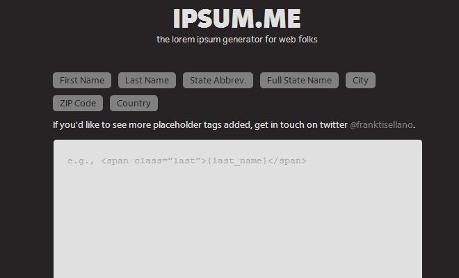 ipsum me webapp generator filler text