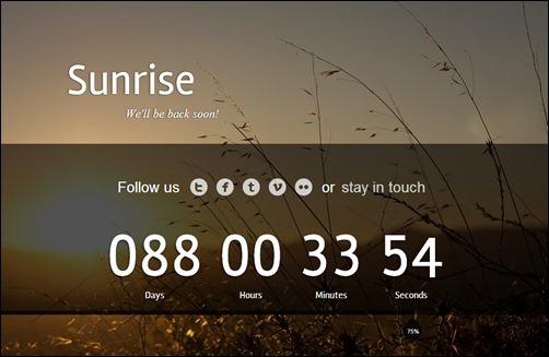 Sunrise page design