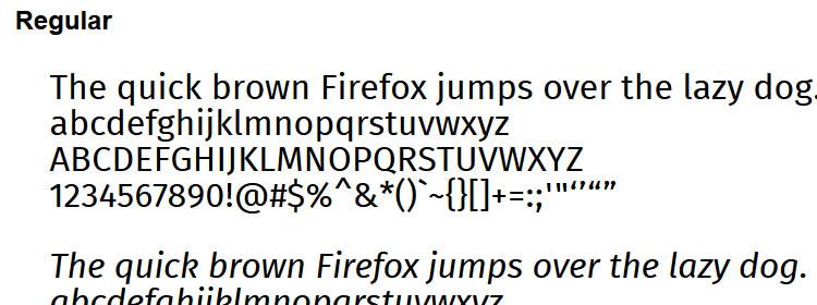 Fira free typeface