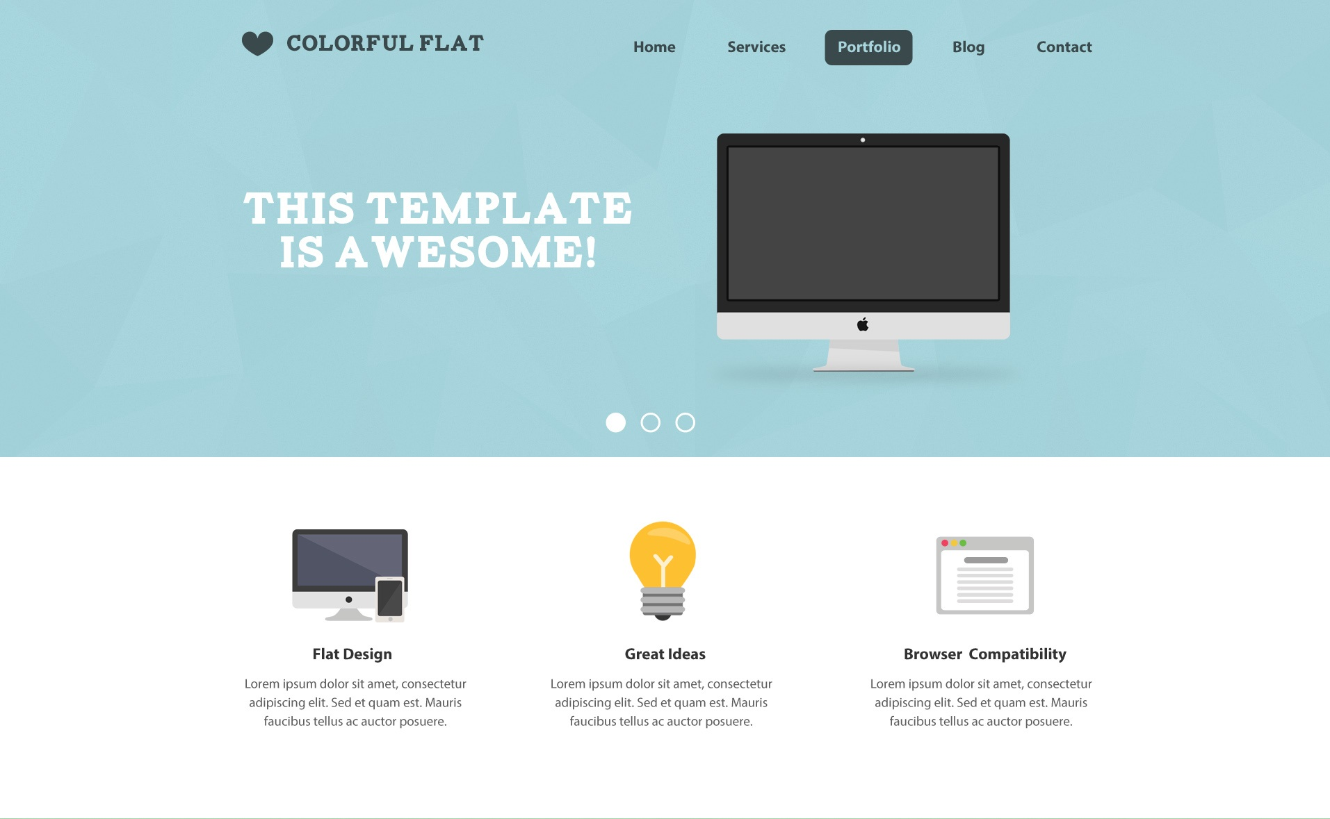 Free PSD Template: Flat One Page Website