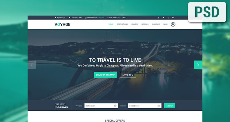 Travel modern clean web template psd free