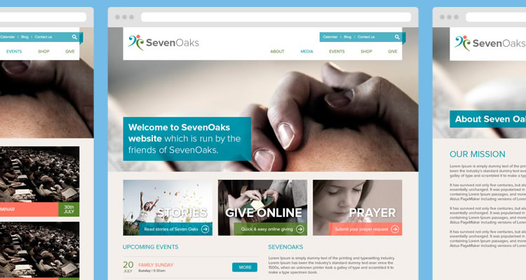 Seven Oaks Includes 4 separate page modern clean web template psd free