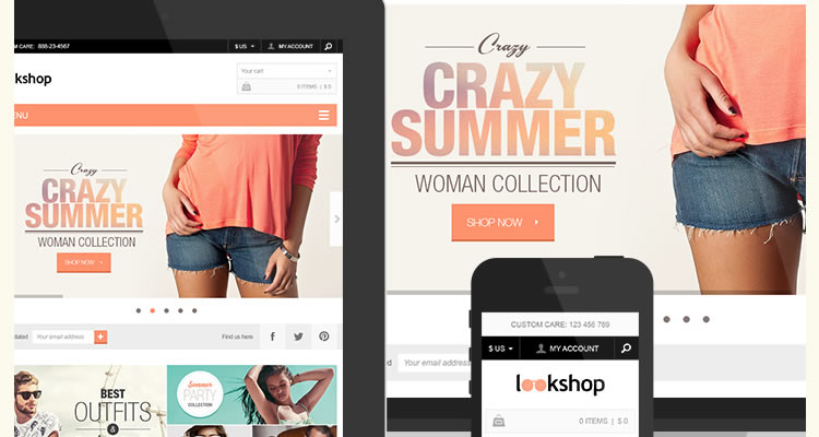 LookShop Ecommerce Includes both desktop mobile versions modern clean web template psd free